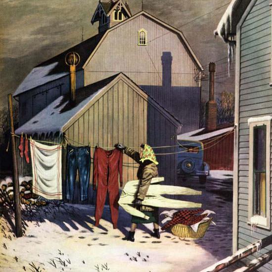 Stevan Dohanos Saturday Evening Post Frozen 1952_03_08 Copyright crop | Best of Vintage Cover Art 1900-1970