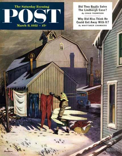 Stevan Dohanos Saturday Evening Post Frozen Laundry 1952_03_08 | The Saturday Evening Post Graphic Art Covers 1931-1969