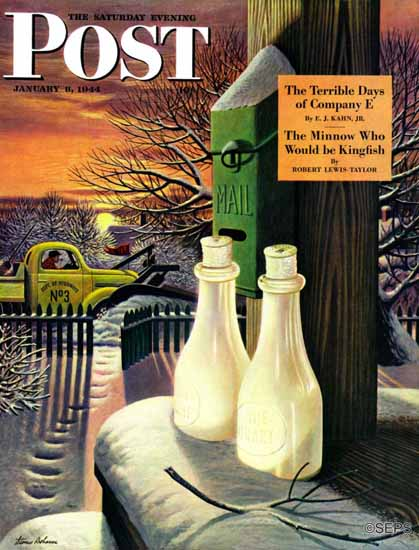 Stevan Dohanos Saturday Evening Post Frozen Milk 1944_01_08 | The Saturday Evening Post Graphic Art Covers 1931-1969