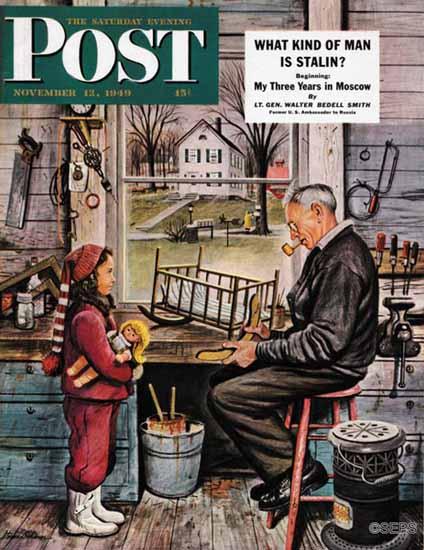 Stevan Dohanos Saturday Evening Post Grandpas Workshop 1949_11_12 | The Saturday Evening Post Graphic Art Covers 1931-1969