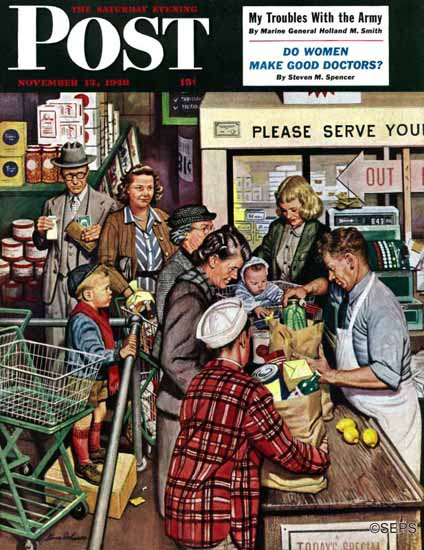 Stevan Dohanos Saturday Evening Post Grocery Line 1948_11_13 | The Saturday Evening Post Graphic Art Covers 1931-1969