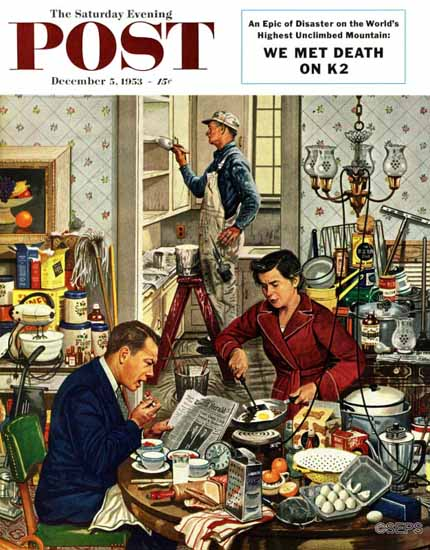 Stevan Dohanos Saturday Evening Post Home Improvement 1953_12_05 | The Saturday Evening Post Graphic Art Covers 1931-1969