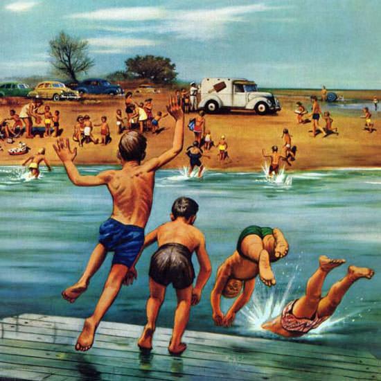 Stevan Dohanos Saturday Evening Post Ice 1954_07_31 Copyright crop | Best of Vintage Cover Art 1900-1970
