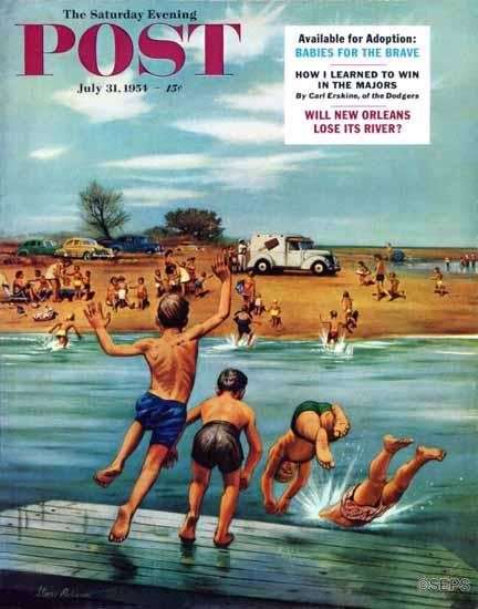 Stevan Dohanos Saturday Evening Post Ice Cream Truck Beach 1954_07_31 | The Saturday Evening Post Graphic Art Covers 1931-1969