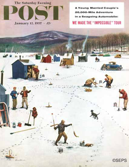 Stevan Dohanos Saturday Evening Post Ice Fishing Camp 1957_01_12 | The Saturday Evening Post Graphic Art Covers 1931-1969
