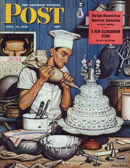 Stevan Dohanos Saturday Evening Post Icing Wedding Cake 1945_06_16 | The Saturday Evening Post Graphic Art Covers 1931-1969
