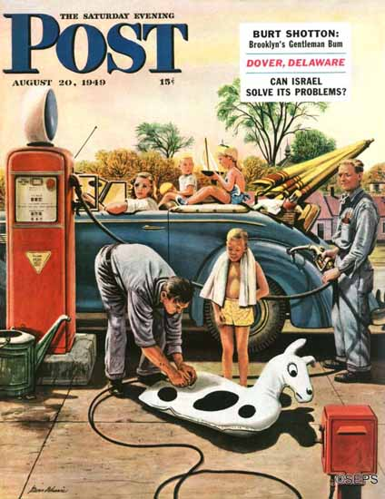 Stevan Dohanos Saturday Evening Post Inflating Beach Toy 1949_08_20 | The Saturday Evening Post Graphic Art Covers 1931-1969