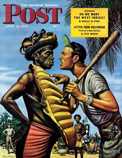 Stevan Dohanos Saturday Evening Post Island Game 1945_04_21 | The Saturday Evening Post Graphic Art Covers 1931-1969
