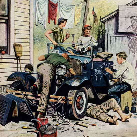 Stevan Dohanos Saturday Evening Post Jalopy 1950_05_20 Copyright crop | Best of Vintage Cover Art 1900-1970