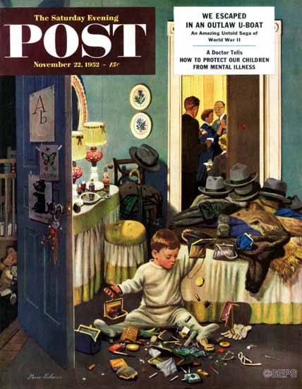 Stevan Dohanos Saturday Evening Post Kid Empties Purses 1952_11_22 | The Saturday Evening Post Graphic Art Covers 1931-1969
