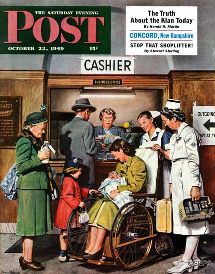 Stevan Dohanos Saturday Evening Post Leaving the Hospital 1949_10_22 | The Saturday Evening Post Graphic Art Covers 1931-1969