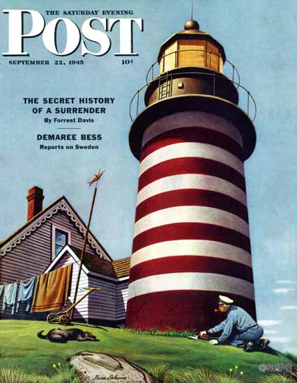 Stevan Dohanos Saturday Evening Post Lighthouse Keeper 1945_09_22 | The Saturday Evening Post Graphic Art Covers 1931-1969