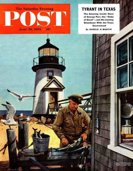 Stevan Dohanos Saturday Evening Post Lighthouse Keeper 1954_06_26 | The Saturday Evening Post Graphic Art Covers 1931-1969