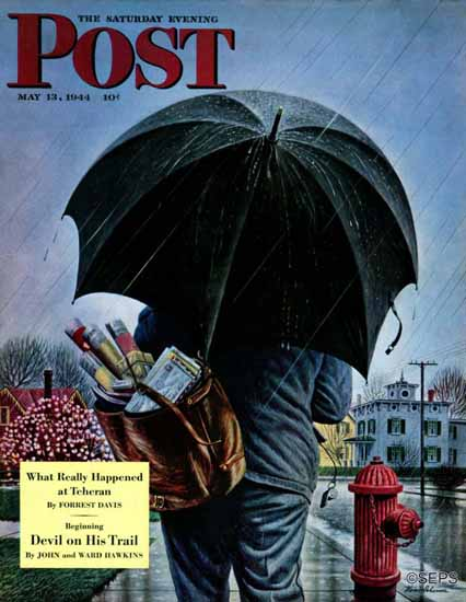Stevan Dohanos Saturday Evening Post Mailman in the Rain 1944_05_13 | The Saturday Evening Post Graphic Art Covers 1931-1969