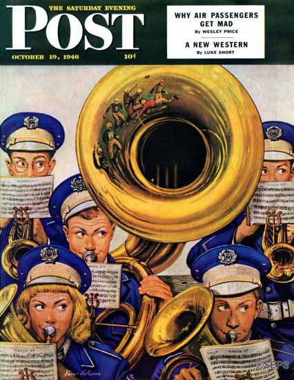 Stevan Dohanos Saturday Evening Post March Band Football 1946_10_19 | The Saturday Evening Post Graphic Art Covers 1931-1969