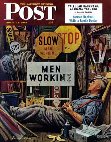 Stevan Dohanos Saturday Evening Post Men Working 1947_04_12   The Saturday Evening Post Graphic Art Covers 1931-1969