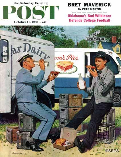Stevan Dohanos Saturday Evening Post Milkman and Pieman 1958_10_11 | The Saturday Evening Post Graphic Art Covers 1931-1969