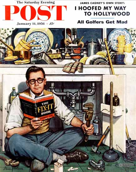 Stevan Dohanos Saturday Evening Post Mister Fix-It 1956_01_14 | The Saturday Evening Post Graphic Art Covers 1931-1969