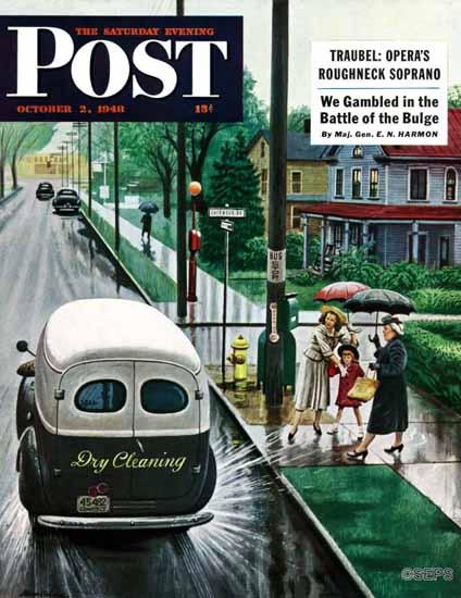 Stevan Dohanos Saturday Evening Post Muddied by Truck 1948_10_02 | The Saturday Evening Post Graphic Art Covers 1931-1969