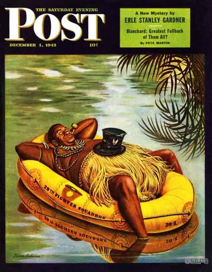 Stevan Dohanos Saturday Evening Post Native in Army Raft 1945_12_01 | The Saturday Evening Post Graphic Art Covers 1931-1969