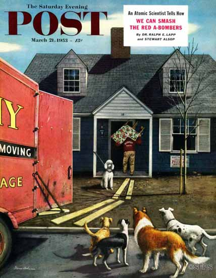 Stevan Dohanos Saturday Evening Post New Dog in Town 1953_03_21 | The Saturday Evening Post Graphic Art Covers 1931-1969