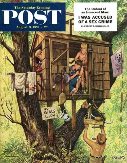 Stevan Dohanos Saturday Evening Post No Girls Allowed 1952_08_09 | The Saturday Evening Post Graphic Art Covers 1931-1969
