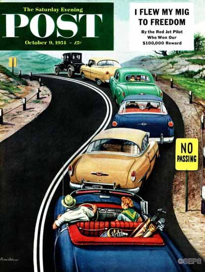 Stevan Dohanos Saturday Evening Post No Passing 1954_10_09 | The Saturday Evening Post Graphic Art Covers 1931-1969