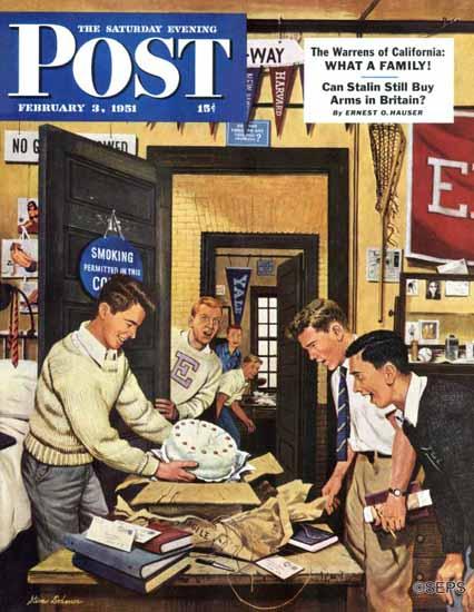 Stevan Dohanos Saturday Evening Post Package from Home 1951_02_03 | The Saturday Evening Post Graphic Art Covers 1931-1969