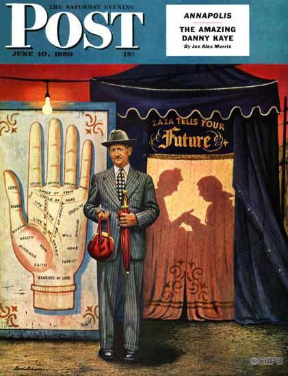 Stevan Dohanos Saturday Evening Post Palmist 1950_06_10 | The Saturday Evening Post Graphic Art Covers 1931-1969