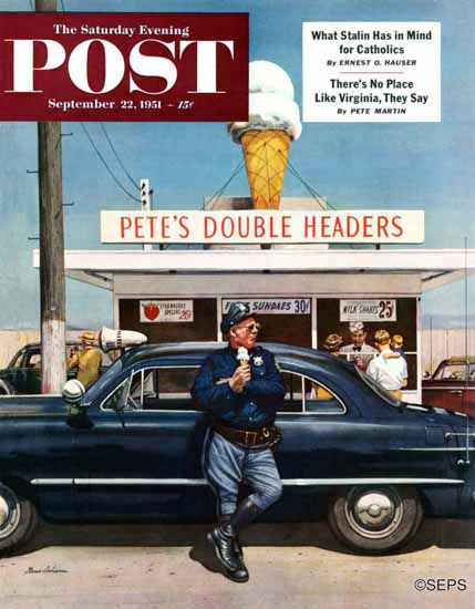 Stevan Dohanos Saturday Evening Post Petes Double Headers 1951_09_22   The Saturday Evening Post Graphic Art Covers 1931-1969