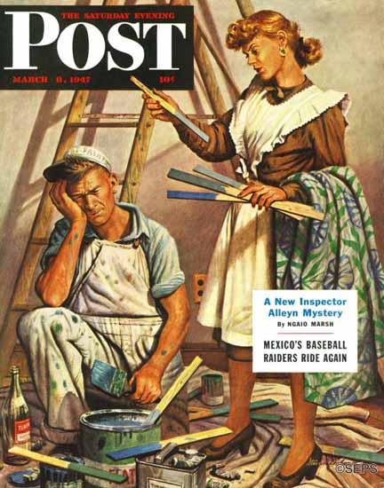 Stevan Dohanos Saturday Evening Post Picking Right Color 1947_03_08 | The Saturday Evening Post Graphic Art Covers 1931-1969