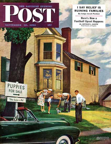 Stevan Dohanos Saturday Evening Post Picking a Puppy 1950_09_30 | The Saturday Evening Post Graphic Art Covers 1931-1969