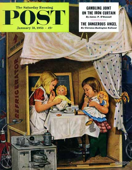 Stevan Dohanos Saturday Evening Post Playing House 1953_01_31 | The Saturday Evening Post Graphic Art Covers 1931-1969