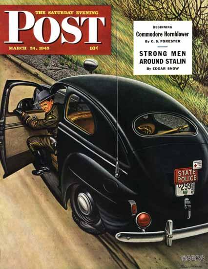 Stevan Dohanos Saturday Evening Post Policeman Flat Tire 1945_03_24 | The Saturday Evening Post Graphic Art Covers 1931-1969