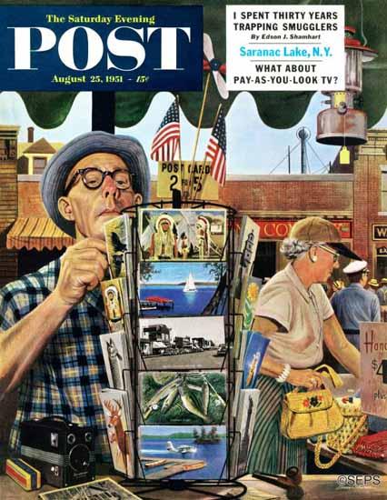 Stevan Dohanos Saturday Evening Post Postcards 1951_08_25 | The Saturday Evening Post Graphic Art Covers 1931-1969