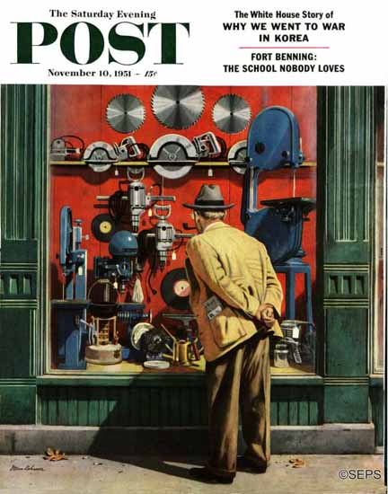 Stevan Dohanos Saturday Evening Post Power Tool Window 1951_11_10 | The Saturday Evening Post Graphic Art Covers 1931-1969