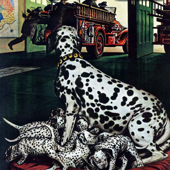 Stevan Dohanos Saturday Evening Post Pups 1945_01_13 Copyright crop | Best of Vintage Cover Art 1900-1970