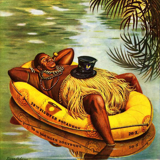 Stevan Dohanos Saturday Evening Post Raft 1945_12_01 Copyright crop | Best of Vintage Cover Art 1900-1970