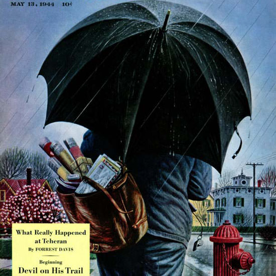 Stevan Dohanos Saturday Evening Post Rain 1944_05_13 Copyright crop | Best of Vintage Cover Art 1900-1970