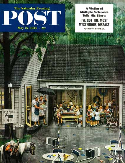 Stevan Dohanos Saturday Evening Post Rain Birthday Party 1954_05_22   The Saturday Evening Post Graphic Art Covers 1931-1969