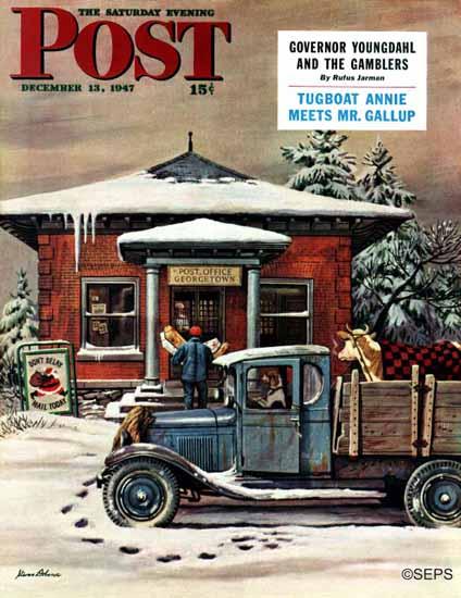 Stevan Dohanos Saturday Evening Post Rural Post Office 1947_12_13 | The Saturday Evening Post Graphic Art Covers 1931-1969