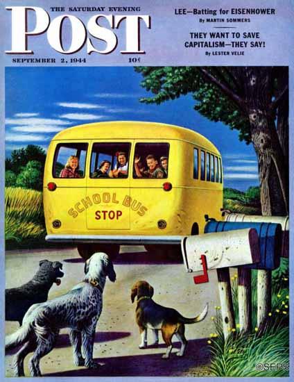 Stevan Dohanos Saturday Evening Post School Bus 1944_09_02 | The Saturday Evening Post Graphic Art Covers 1931-1969