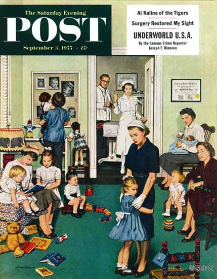 Stevan Dohanos Saturday Evening Post Separation Anxiety 1955_09_03 | The Saturday Evening Post Graphic Art Covers 1931-1969