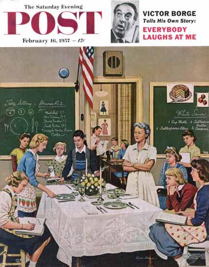 Stevan Dohanos Saturday Evening Post Setting the Table 1957_02_16 | The Saturday Evening Post Graphic Art Covers 1931-1969