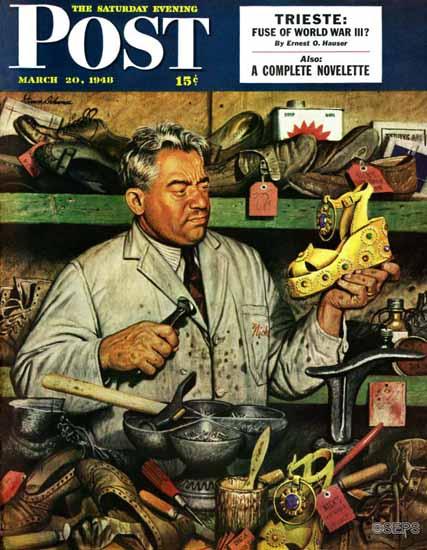 Stevan Dohanos Saturday Evening Post Shoe Repairman 1948_03_20 | The Saturday Evening Post Graphic Art Covers 1931-1969