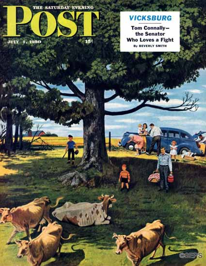 Stevan Dohanos Saturday Evening Post Shoo the Moos 1950_07_01 | The Saturday Evening Post Graphic Art Covers 1931-1969
