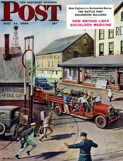 Stevan Dohanos Saturday Evening Post Small Fire Company 1949_05_14   The Saturday Evening Post Graphic Art Covers 1931-1969