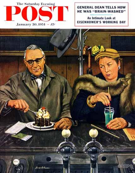 Stevan Dohanos Saturday Evening Post Soda Fountain Dieter 1954_01_30 | The Saturday Evening Post Graphic Art Covers 1931-1969