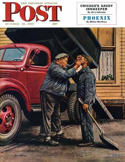 Stevan Dohanos Saturday Evening Post Speck of Coal 1947_10_18 | The Saturday Evening Post Graphic Art Covers 1931-1969