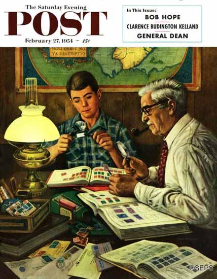 Stevan Dohanos Saturday Evening Post Stamp Collecting 1954_02_27 | The Saturday Evening Post Graphic Art Covers 1931-1969